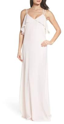 Amsale nouvelle Avery Strappy Ruffle V-Neck Gown