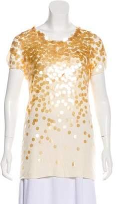 Rebecca Taylor Embellished Short Sleeve Blouse