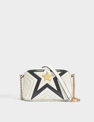 Stella McCartney Two-Tone Alter Python Small Stella Star Shoulder Bag in White and Black Eco Fabric
