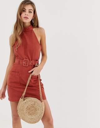 Asos Design DESIGN denim halterneck belted mini dress in conker