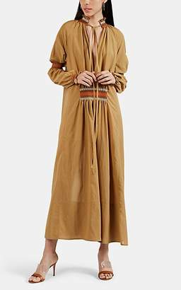 Loewe Women's Embroidered Smocked Cotton-Blend Maxi Dress - Beige, Tan