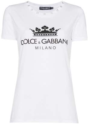 Dolce & Gabbana diamante collar logo crown print cotton t shirt