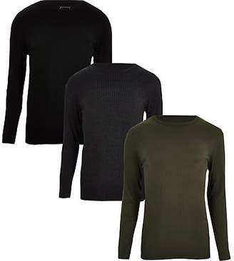 River Island Mens Black rib slim fit T-shirt multipack