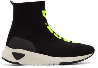 Diesel Black and Yellow S-KB Sock Mid Sneakers