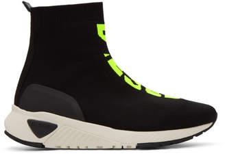 Diesel Black and Yellow S-KB Sock Mid Sneakers