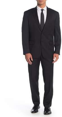 Hart Schaffner Marx Black Solid Two Button Notch Lapel Wool Classic Fit Suit