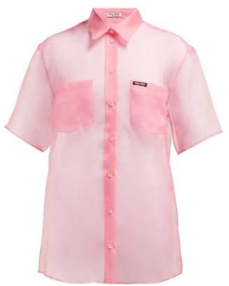 Miu Miu Oversized Silk Organza Shirt - Womens - Pink