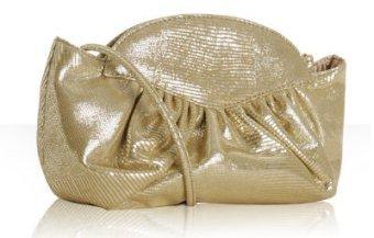 Stuart Weitzman gold lizard suede 'Nite Crush' clutch
