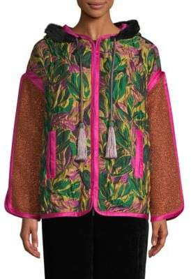 Etro Floral Faux Fur-Trim Patchwork Hooded Jacket