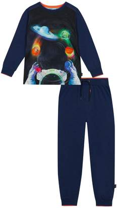 Next Boys baker by Ted Baker Blue Planets Jersey Woven Pyjama