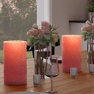 LED Candle with Remote Control-Rose Design Scented Wax, Realistic Flickering or Steady Flameless Pillar Light-Ambient Home Decor by Lavish Home 2PC
