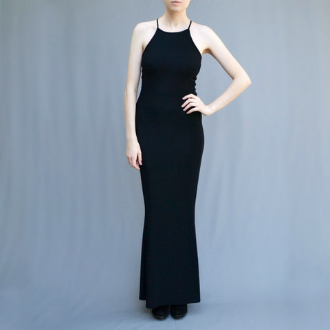MAE VALENTE Black Lace Up Dress