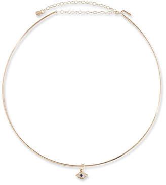 Sydney Evan Mini Evil Eye Charm Collar Necklace in 14K Gold