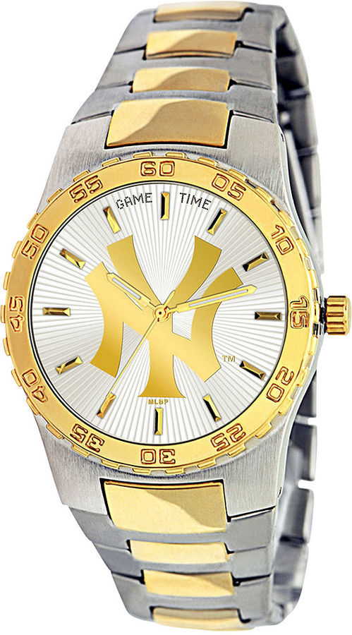 Game Time Watch, Men's New York Yankees Two-Tone Stainless Steel Bracelet 42mm MLB-EXE-NY3