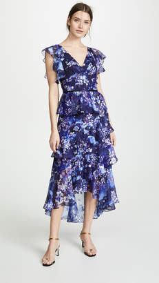 Marchesa Flutter Sleeve V Neck Floral Gown