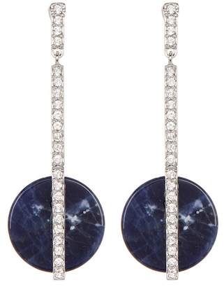 Swarovski Crystal Accented Stone Disc Drop Earrings