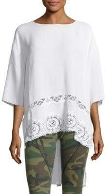 Peserico High-Low Crepe Lace Top