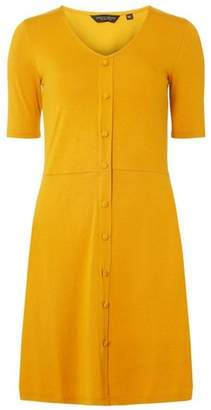 Dorothy Perkins Womens Mustard Buttoned Mini Dress