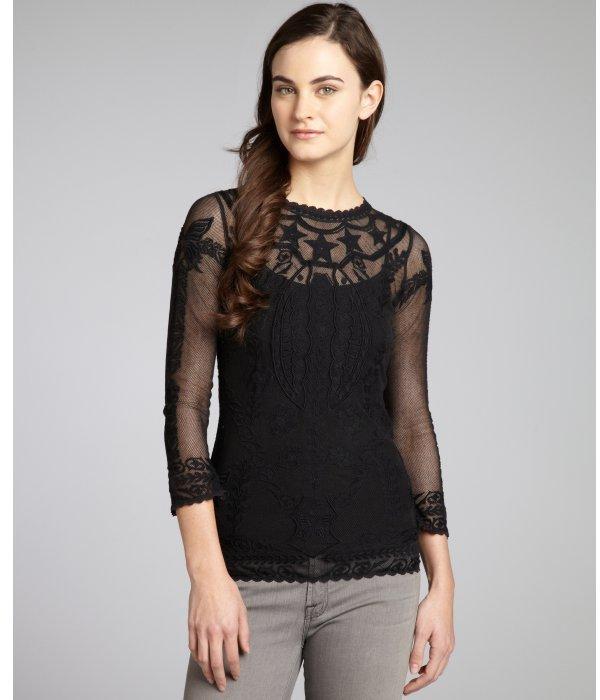Isabel Marant black cotton woven floral lace mesh blouse