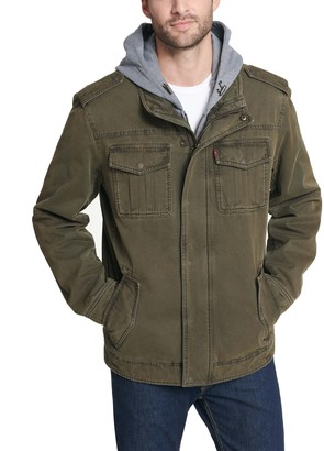 Levi's Levis Men's Sherpa-Lined Hooded Military Trucker Jacket