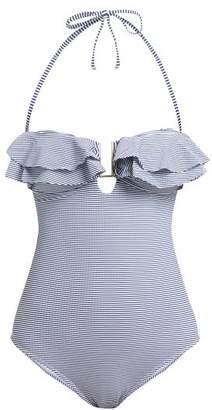 Melissa Odabash Corfu Striped Bandeau Swimsuit - Womens - Navy Print