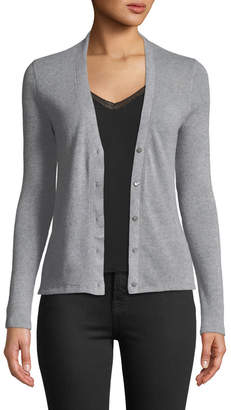 Majestic Button-Front Fitted Cashmere-Wool Cardigan