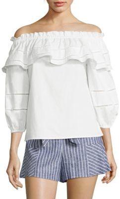 Parker Kiara Off-the-Shoulder Blouse $178 thestylecure.com