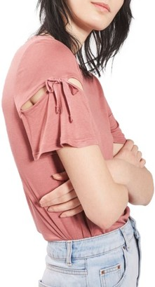 Women's Topshop Ribbon Sleeve Tee $28 thestylecure.com