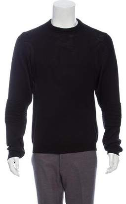 Balenciaga Wool Rib Knit-Trimmed Crew Neck Sweater