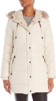Lauren Ralph Lauren Hooded Faux Fur Trim Quilted Down Coat