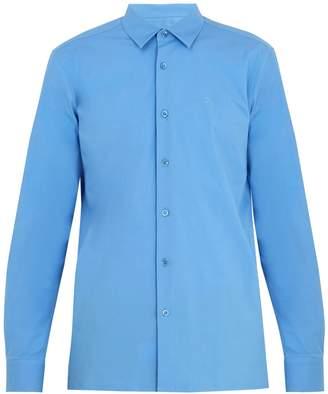 Raf Simons Logo-embroidered spread-collar cotton shirt