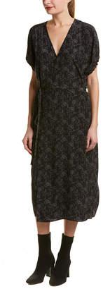 Vince Floral Dot Silk Kimono Wrap Dress