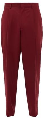 E. Tautz Pleated Wide Leg Wool Twill Trousers - Mens - Burgundy