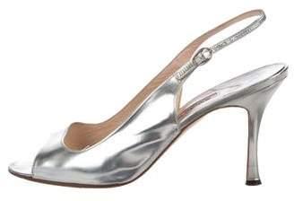 Manolo Blahnik Metallic Slingback Sandals