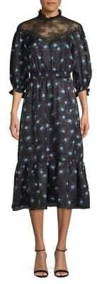 Sandro Regard Floral Lace Illusion Midi Dress