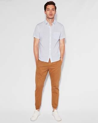 Express Slim Striped Button-Down Short Sleeve Shirt