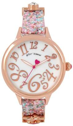 Betsey Johnson Women's Pink Printed Charm Watch, 38mm