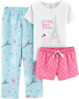 Carter's Girls 4-14 Printed Top, Shorts & Pants Pajama Set