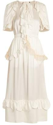 Simone Rocha Ruffle Trimmed Tie Waist Silk Dress - Womens - Ivory