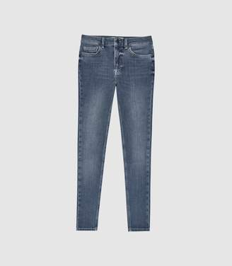Reiss Skye - Bi-stretch High Rise Skinny Jeans in Mid Blue