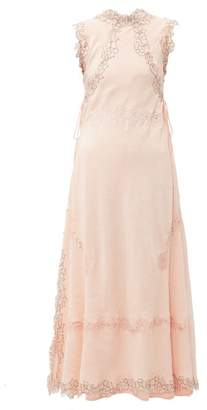 Loewe Lace Insert Crinkled Dress - Womens - Light Pink