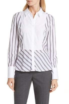 Nordstrom Signature Pattern Mix Stripe Cotton Blend Shirt