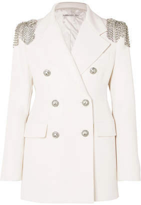 Alessandra Rich Crystal-embellished Wool-crepe Blazer - White