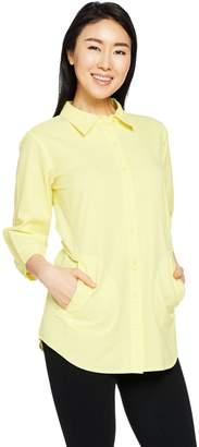 Joan Rivers Classics Collection Joan Rivers 3/4 Sleeve Solid Seersucker Boyfriend Shirt