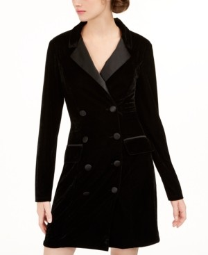 City Studios Juniors' Velvet Tuxedo Blazer Dress