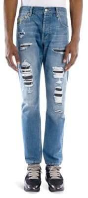 Alexander McQueen Slim-Fit Distressed Denim Jeans