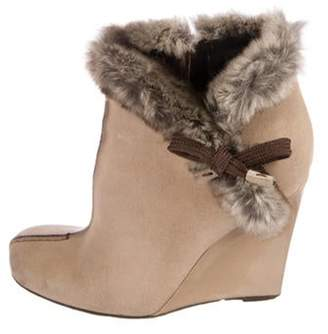 Louis Vuitton Glaciere Fur-Trimmed Booties Tan Glaciere Fur-Trimmed Booties