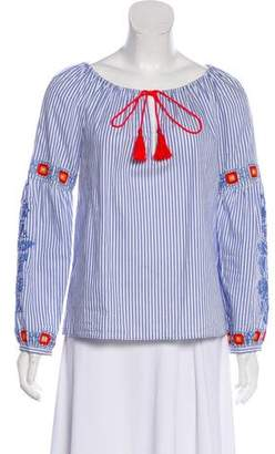 Tory Burch Stripe Embroidered Top