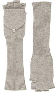 Barneys New York Women's Fingerless Convertible Mittens-Beige, Tan