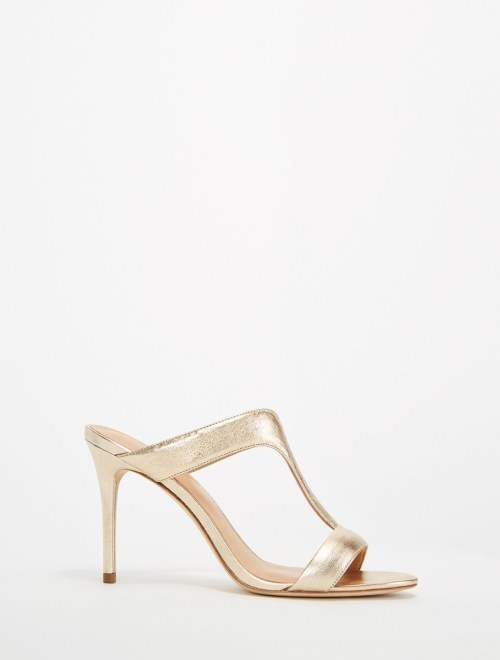 Halston Arya Metallic Leather High Heel Sandal